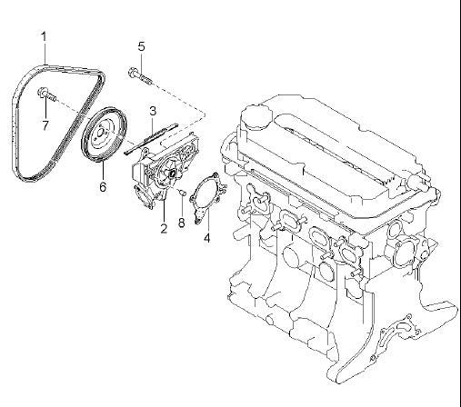 25100-2X200 Water Pump Kia Spectra 1.6 Rio 1.5 251002X200